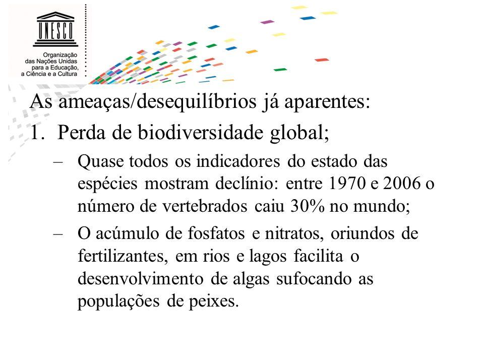 As ameaças/desequilíbrios já aparentes: 1.Perda de biodiversidade global; –Quase todos os indicadores do estado das espécies mostram declínio: entre 1