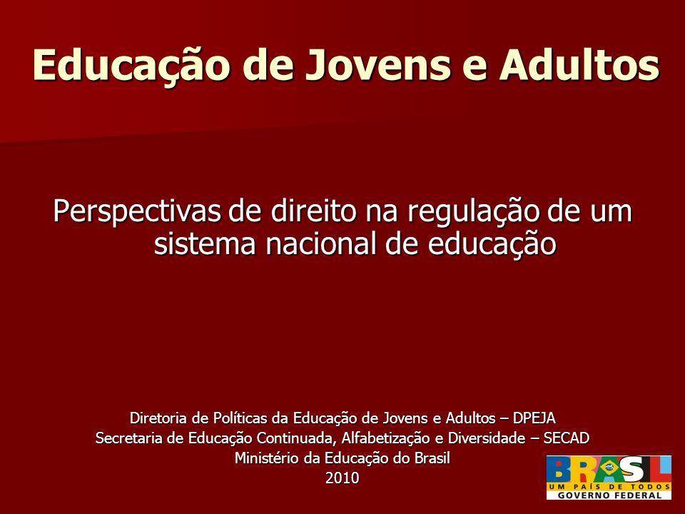 Educação de Jovens e Adultos Perspectivas de direito na regulação de um sistema nacional de educação Diretoria de Políticas da Educação de Jovens e Ad