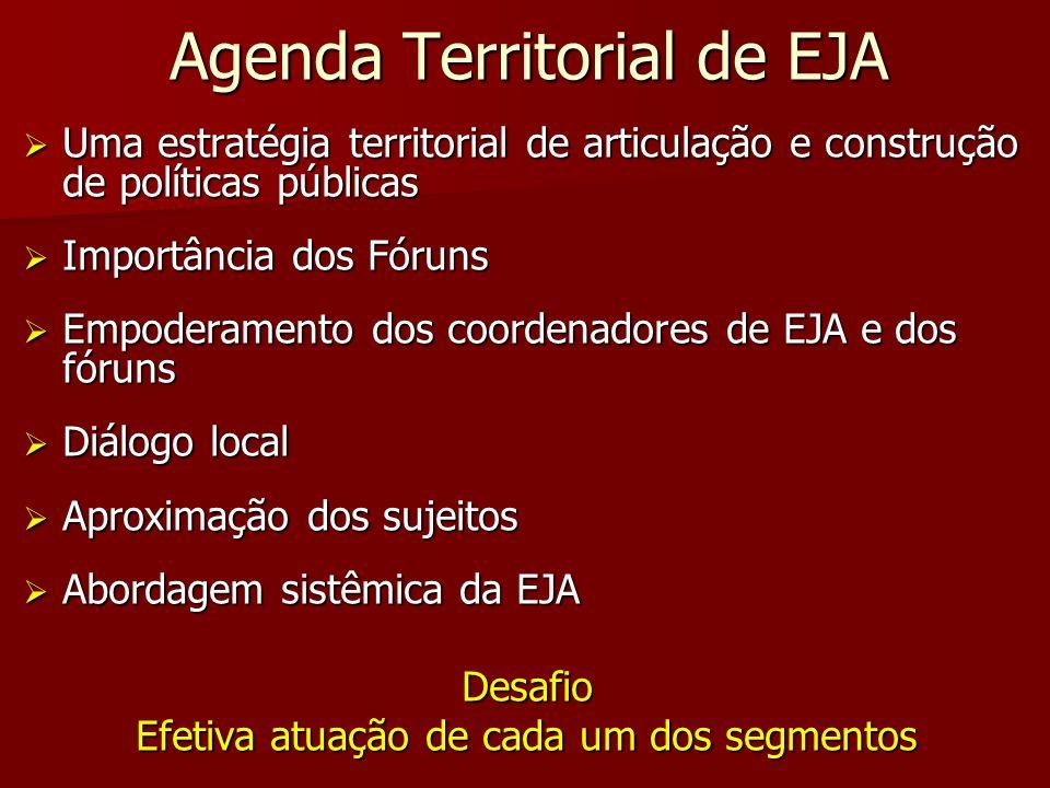 Agenda Territorial de EJA Uma estratégia territorial de articulação e construção de políticas públicas Uma estratégia territorial de articulação e con
