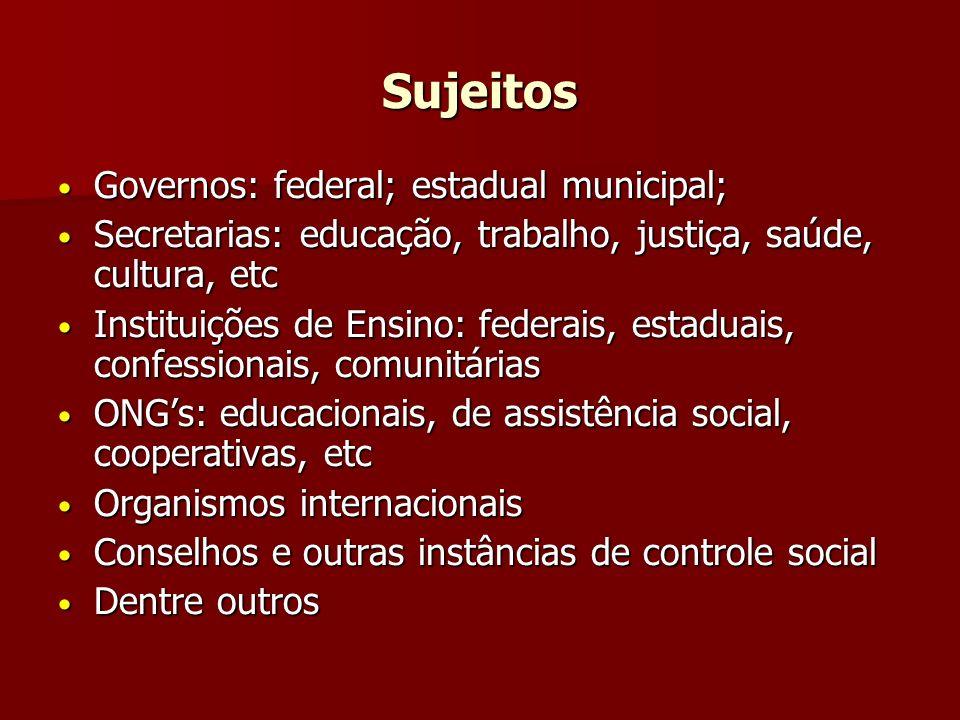 Sujeitos Governos: federal; estadual municipal; Governos: federal; estadual municipal; Secretarias: educação, trabalho, justiça, saúde, cultura, etc S