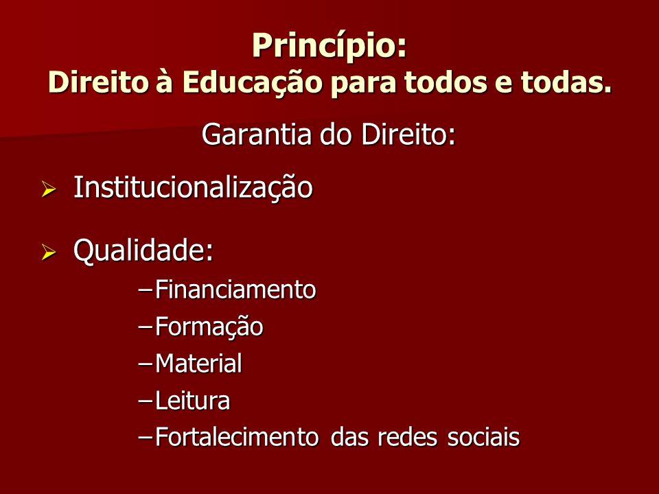 Princípio: Direito à Educação para todos e todas. Garantia do Direito: Institucionalização Institucionalização Qualidade: Qualidade: –Financiamento –F