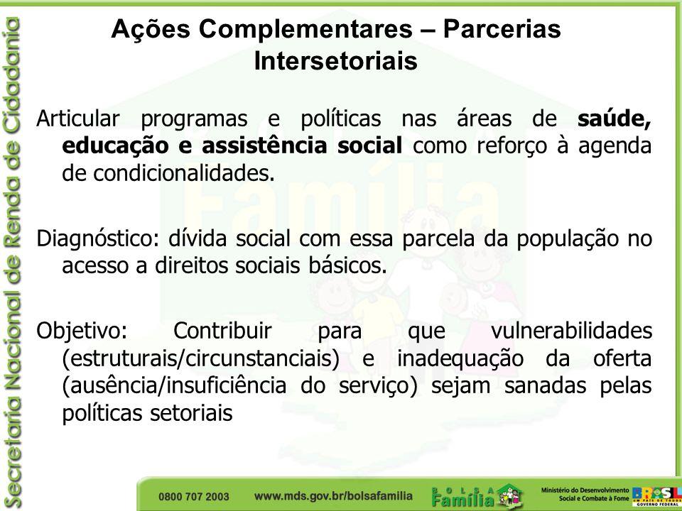Ações Complementares – Parcerias Intersetoriais Articular programas e políticas nas áreas de saúde, educação e assistência social como reforço à agend