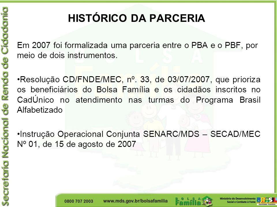 HISTÓRICO DA PARCERIA Em 2007 foi formalizada uma parceria entre o PBA e o PBF, por meio de dois instrumentos. Resolução CD/FNDE/MEC, nº. 33, de 03/07