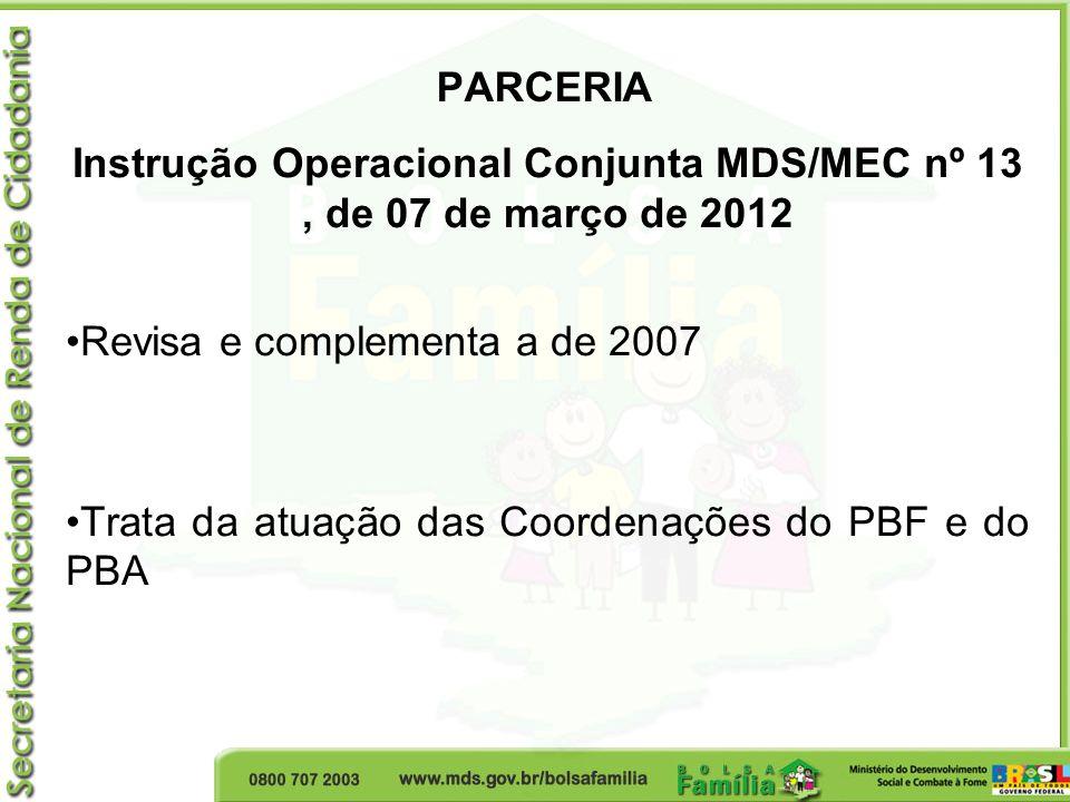 PARCERIA Instrução Operacional Conjunta MDS/MEC nº 13, de 07 de março de 2012 Revisa e complementa a de 2007 Trata da atuação das Coordenações do PBF