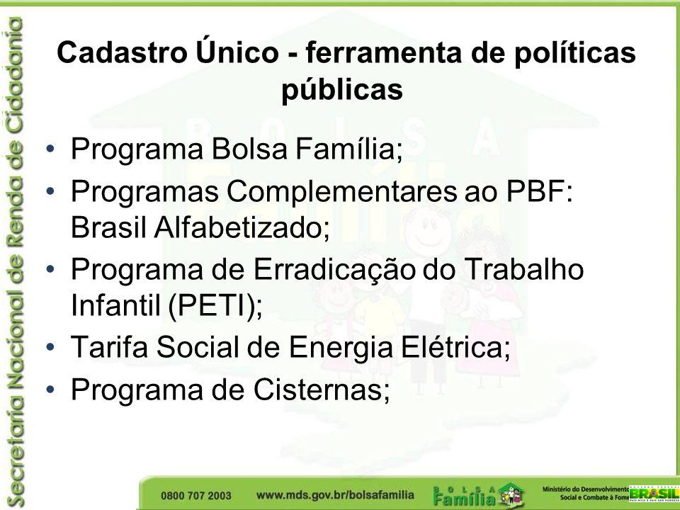 Cadastro Único - ferramenta de políticas públicas Programa Bolsa Família; Programas Complementares ao PBF: Brasil Alfabetizado; Programa de Erradicaçã