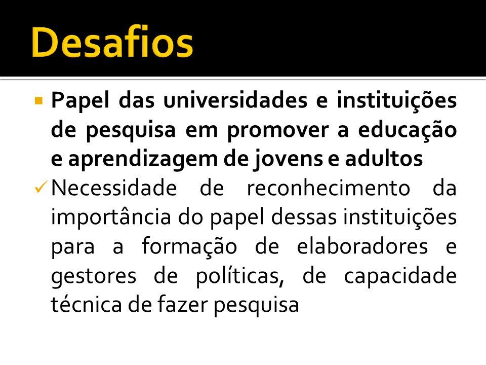 Papel das universidades e instituições de pesquisa em promover a educação e aprendizagem de jovens e adultos Necessidade de reconhecimento da importân