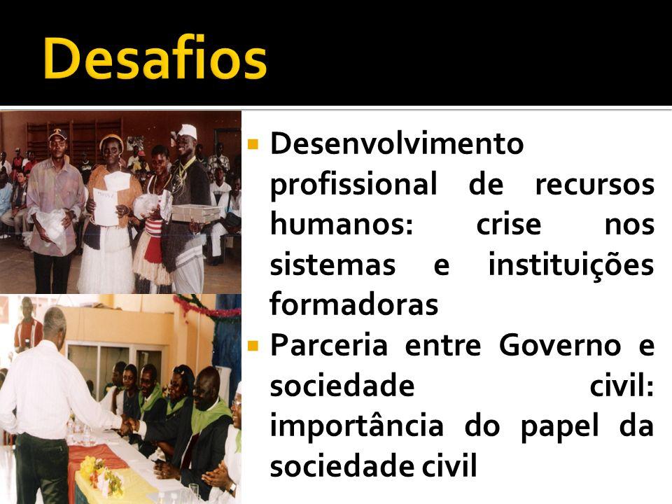 Desenvolvimento profissional de recursos humanos: crise nos sistemas e instituições formadoras Parceria entre Governo e sociedade civil: importância d