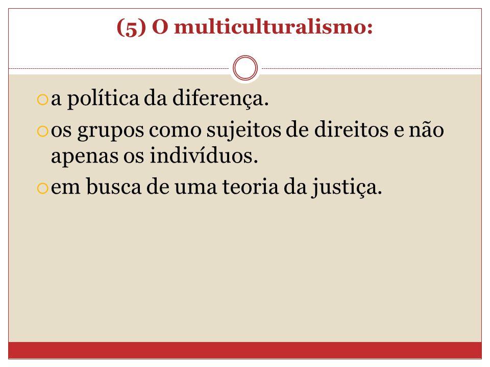(5) O multiculturalismo: a política da diferença. os grupos como sujeitos de direitos e não apenas os indivíduos. em busca de uma teoria da justiça.