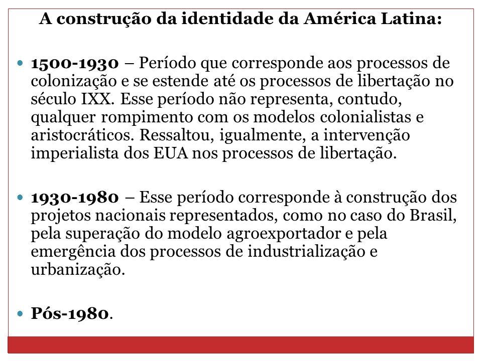 A construção da identidade da América Latina: 1500-1930 – Período que corresponde aos processos de colonização e se estende até os processos de libert