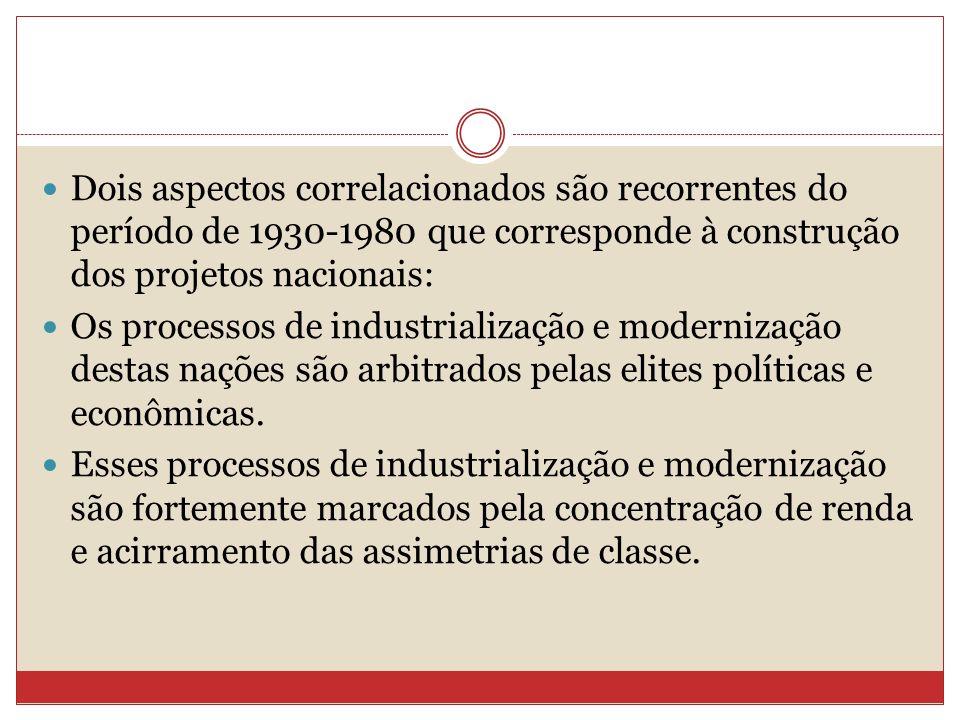 Dois aspectos correlacionados são recorrentes do período de 1930-1980 que corresponde à construção dos projetos nacionais: Os processos de industriali