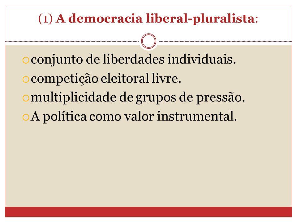 (1) A democracia liberal-pluralista: conjunto de liberdades individuais. competição eleitoral livre. multiplicidade de grupos de pressão. A política c