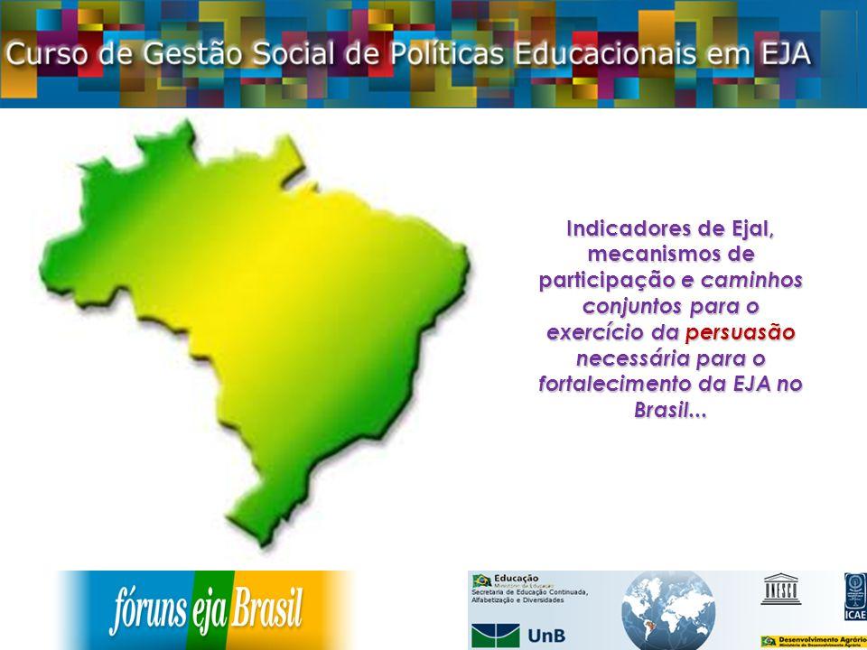 Indicadores de Ejal, mecanismos de participação e caminhos conjuntos para o exercício da persuasão necessária para o fortalecimento da EJA no Brasil..