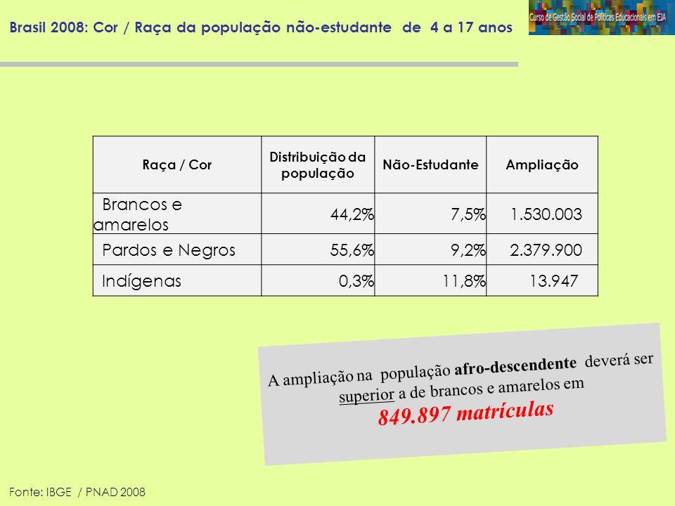 Brasil 2008: Cor / Raça da população não-estudante de 4 a 17 anos A ampliação na população afro-descendente deverá ser superior a de brancos e amarelo