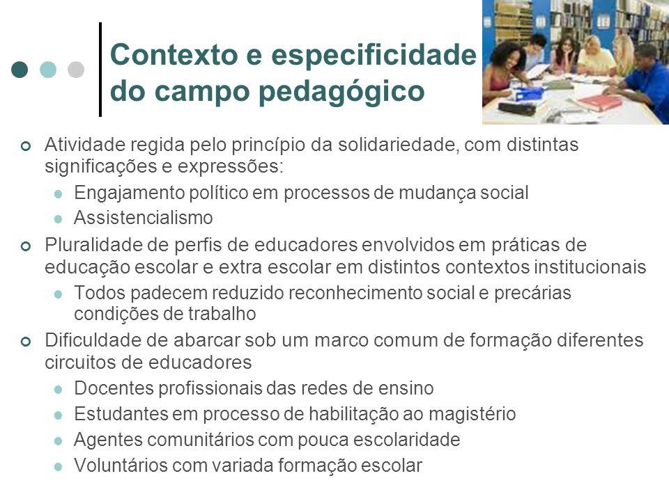 Contexto e especificidade do campo pedagógico Atividade regida pelo princípio da solidariedade, com distintas significações e expressões: Engajamento