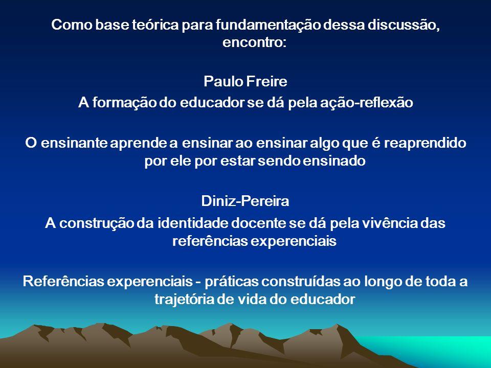 Como base teórica para fundamentação dessa discussão, encontro: Paulo Freire A formação do educador se dá pela ação-reflexão O ensinante aprende a ens