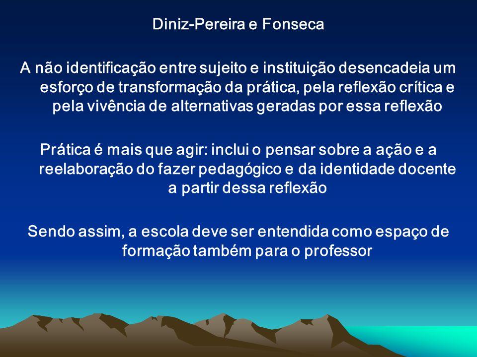 Diniz-Pereira e Fonseca A não identificação entre sujeito e instituição desencadeia um esforço de transformação da prática, pela reflexão crítica e pe