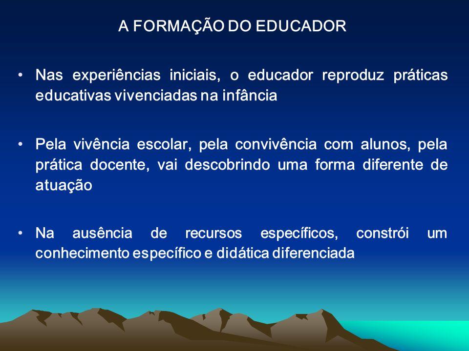 A FORMAÇÃO DO EDUCADOR Nas experiências iniciais, o educador reproduz práticas educativas vivenciadas na infância Pela vivência escolar, pela convivên