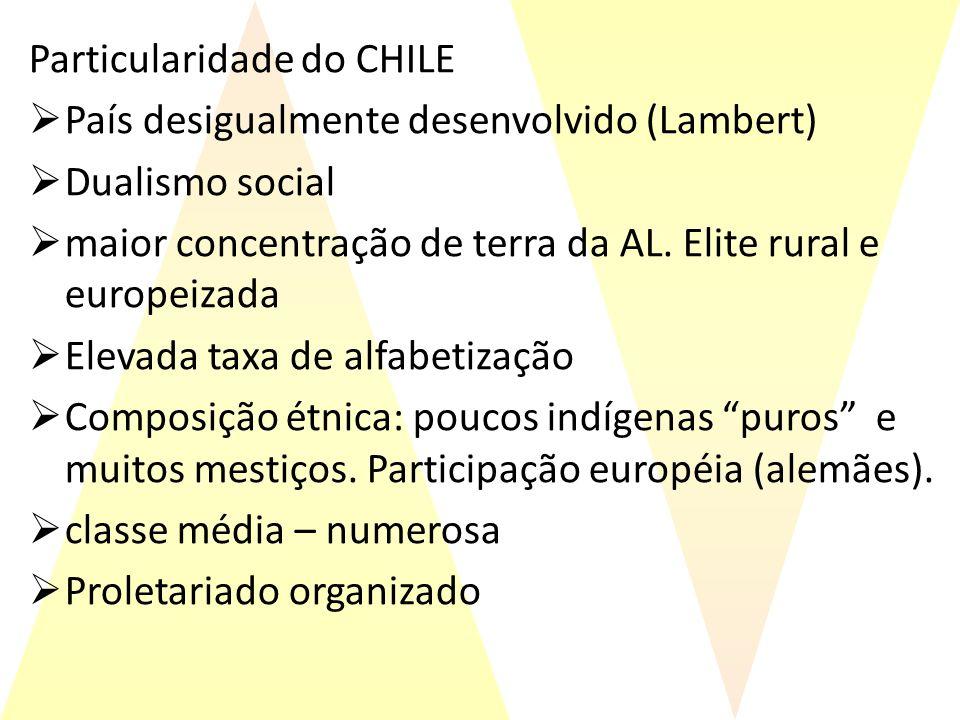 Particularidade do CHILE País desigualmente desenvolvido (Lambert) Dualismo social maior concentração de terra da AL. Elite rural e europeizada Elevad