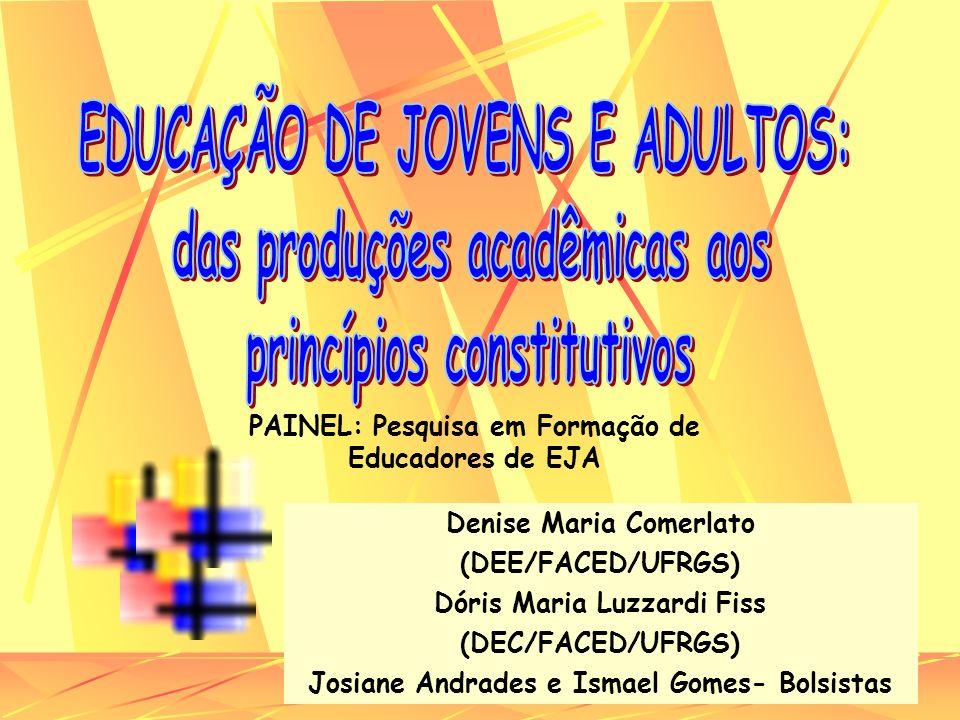 Denise Maria Comerlato (DEE/FACED/UFRGS) Dóris Maria Luzzardi Fiss (DEC/FACED/UFRGS) Josiane Andrades e Ismael Gomes- Bolsistas PAINEL: Pesquisa em Fo