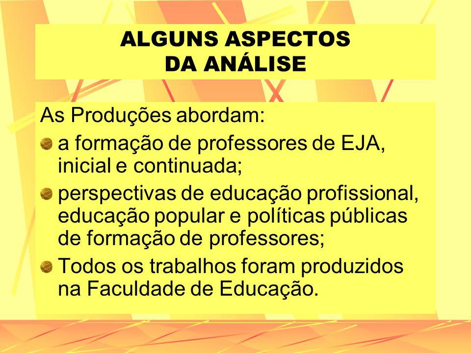 ALGUNS ASPECTOS DA ANÁLISE As Produções abordam: a formação de professores de EJA, inicial e continuada; perspectivas de educação profissional, educaç