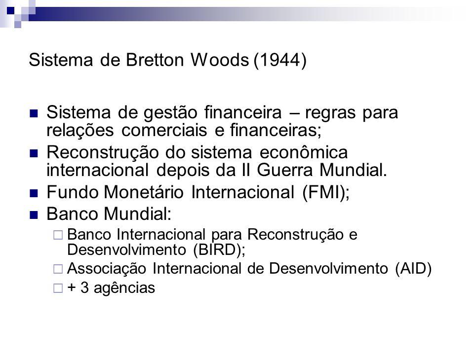 Sistema de Bretton Woods (1944) Sistema de gestão financeira – regras para relações comerciais e financeiras; Reconstrução do sistema econômica intern