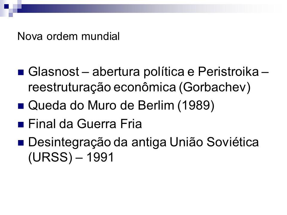 Nova ordem mundial Glasnost – abertura política e Peristroika – reestruturação econômica (Gorbachev) Queda do Muro de Berlim (1989) Final da Guerra Fr