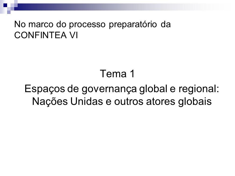 No marco do processo preparatório da CONFINTEA VI Tema 1 Espaços de governança global e regional: Nações Unidas e outros atores globais