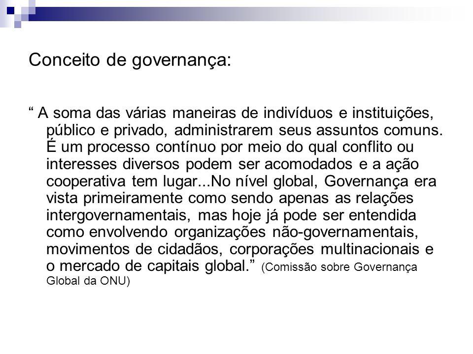 Conceito de governança: A soma das várias maneiras de indivíduos e instituições, público e privado, administrarem seus assuntos comuns. É um processo