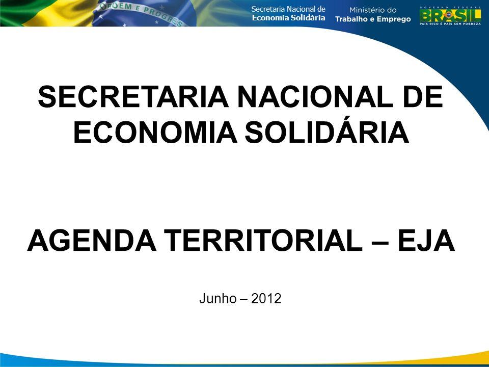 Secretaria Nacional de Economia Solidária SECRETARIA NACIONAL DE ECONOMIA SOLIDÁRIA AGENDA TERRITORIAL – EJA Junho – 2012