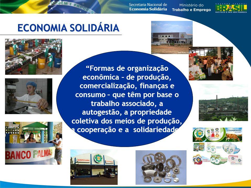 Secretaria Nacional de Economia Solidária Formas de organização econômica – de produção, comercialização, finanças e consumo – que têm por base o trabalho associado, a autogestão, a propriedade coletiva dos meios de produção, a cooperação e a solidariedade ECONOMIA SOLIDÁRIA