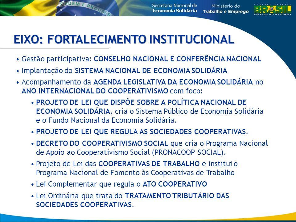 Secretaria Nacional de Economia Solidária EIXO: FORTALECIMENTO INSTITUCIONAL Gestão participativa: CONSELHO NACIONAL E CONFERÊNCIA NACIONAL Implantação do SISTEMA NACIONAL DE ECONOMIA SOLIDÁRIA Acompanhamento da AGENDA LEGISLATIVA DA ECONOMIA SOLIDÁRIA no ANO INTERNACIONAL DO COOPERATIVISMO com foco: PROJETO DE LEI QUE DISPÕE SOBRE A POLÍTICA NACIONAL DE ECONOMIA SOLIDÁRIA, cria o Sistema Público de Economia Solidária e o Fundo Nacional da Economia Solidária.