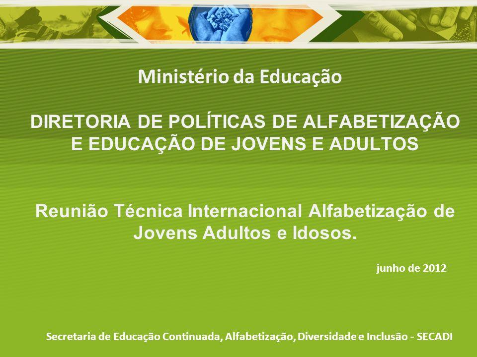 DIRETORIA DE POLÍTICAS DE ALFABETIZAÇÃO E EDUCAÇÃO DE JOVENS E ADULTOS Reunião Técnica Internacional Alfabetização de Jovens Adultos e Idosos. Ministé
