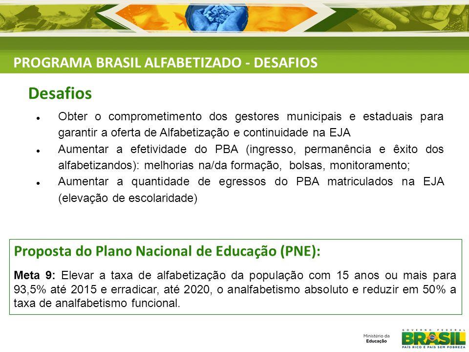 Obter o comprometimento dos gestores municipais e estaduais para garantir a oferta de Alfabetização e continuidade na EJA Aumentar a efetividade do PB