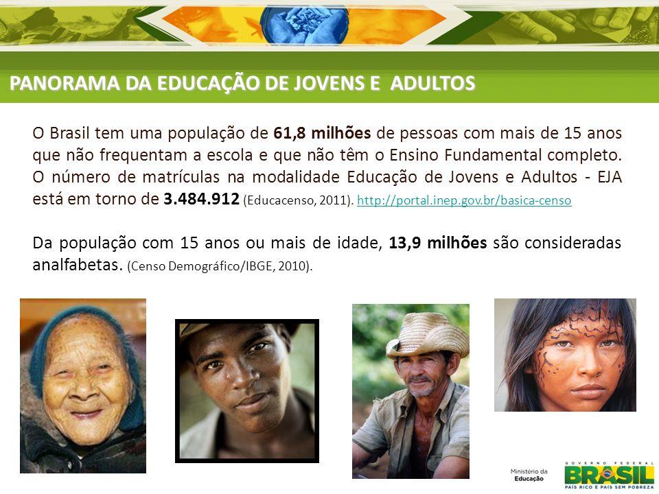 PANORAMA DA EDUCAÇÃO DE JOVENS E ADULTOS O Brasil tem uma população de 61,8 milhões de pessoas com mais de 15 anos que não frequentam a escola e que n