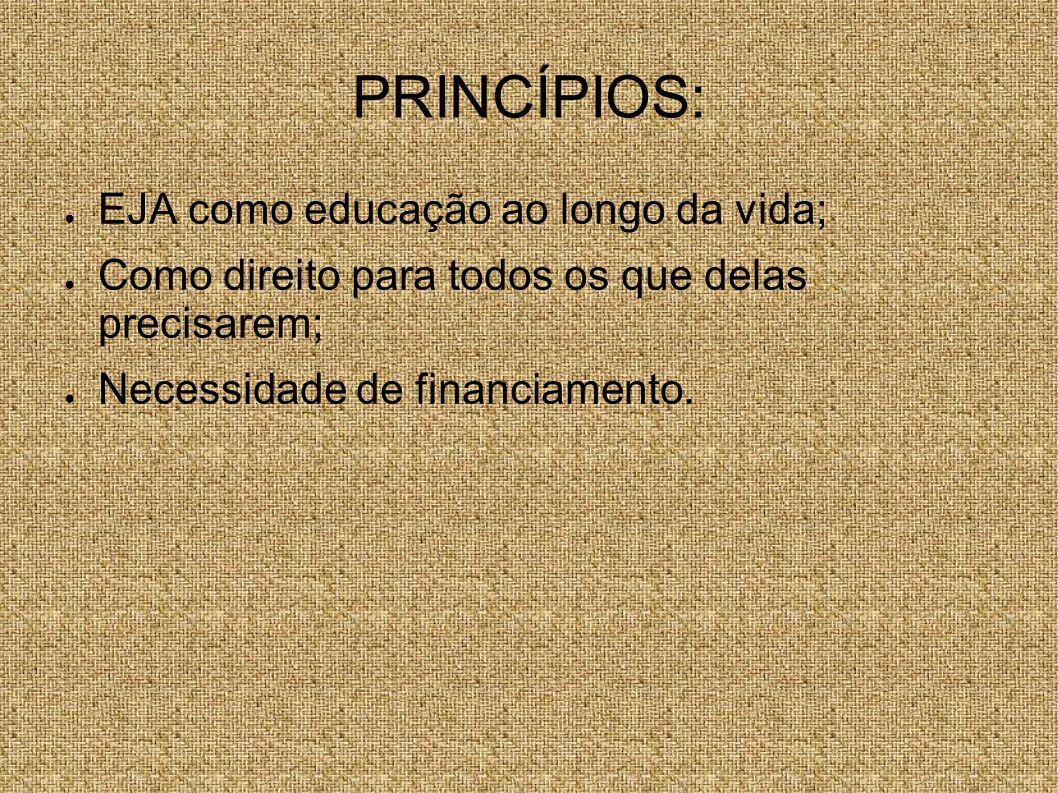 PRINCÍPIOS: EJA como educação ao longo da vida; Como direito para todos os que delas precisarem; Necessidade de financiamento.