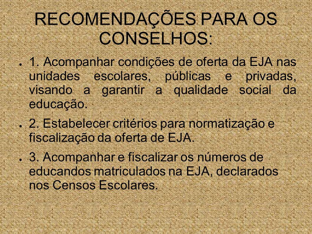 RECOMENDAÇÕES PARA OS CONSELHOS: 1. Acompanhar condições de oferta da EJA nas unidades escolares, públicas e privadas, visando a garantir a qualidade