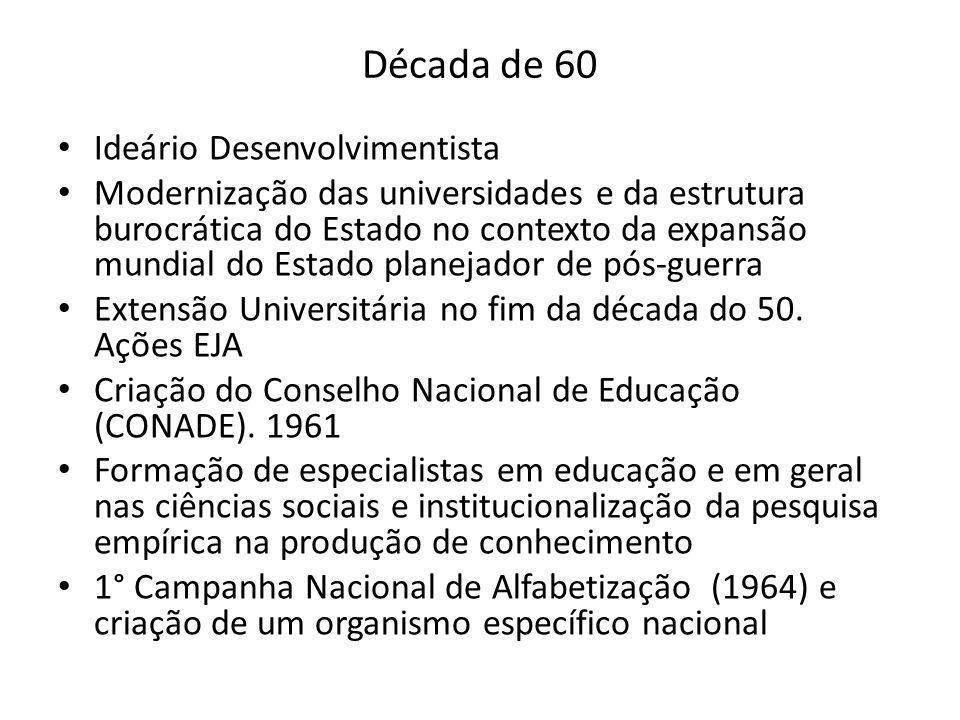 Década de 60 Ideário Desenvolvimentista Modernização das universidades e da estrutura burocrática do Estado no contexto da expansão mundial do Estado