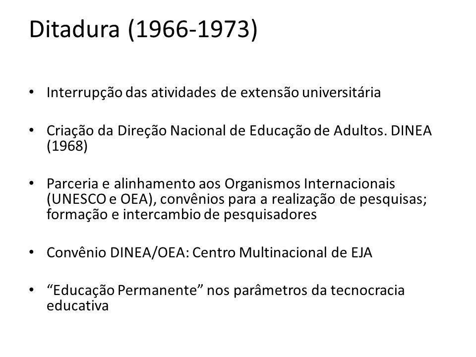 Ditadura (1966-1973) Interrupção das atividades de extensão universitária Criação da Direção Nacional de Educação de Adultos. DINEA (1968) Parceria e