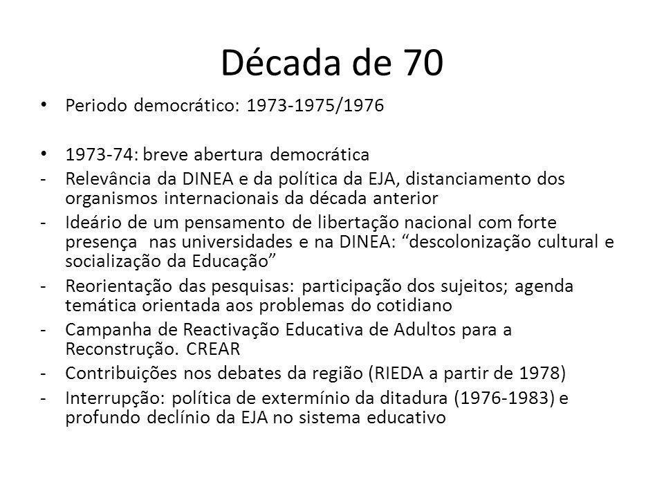Década de 70 Periodo democrático: 1973-1975/1976 1973-74: breve abertura democrática -Relevância da DINEA e da política da EJA, distanciamento dos org