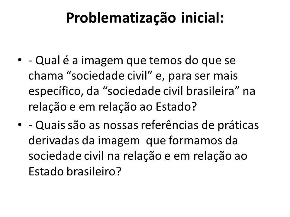 Problematização inicial: - Qual é a imagem que temos do que se chama sociedade civil e, para ser mais específico, da sociedade civil brasileira na rel