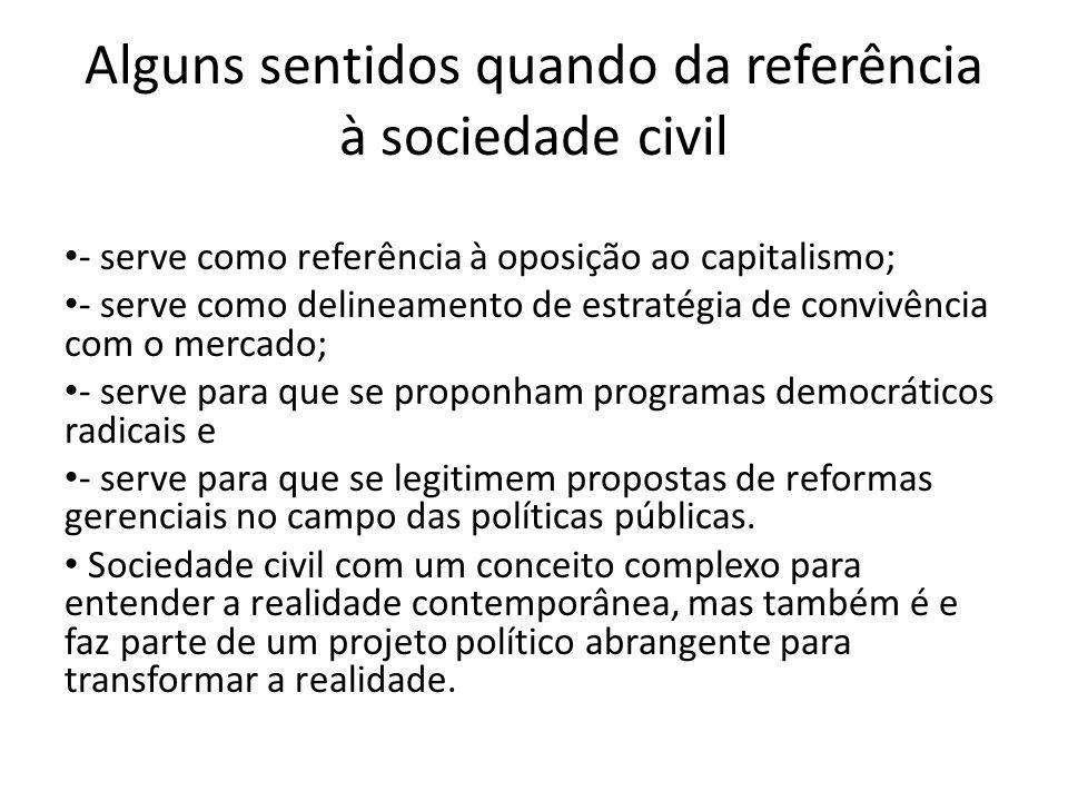 Alguns sentidos quando da referência à sociedade civil - serve como referência à oposição ao capitalismo; - serve como delineamento de estratégia de c