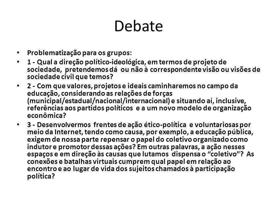 Debate Problematização para os grupos: 1 - Qual a direção político-ideológica, em termos de projeto de sociedade, pretendemos dá ou não à corresponden