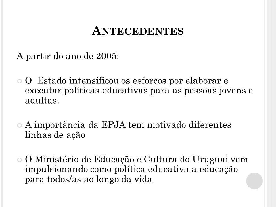 A NTECEDENTES A partir do ano de 2005: O Estado intensificou os esforços por elaborar e executar políticas educativas para as pessoas jovens e adultas.