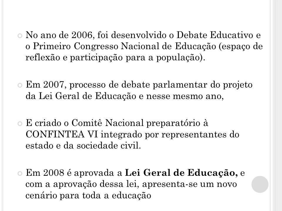 No ano de 2006, foi desenvolvido o Debate Educativo e o Primeiro Congresso Nacional de Educação (espaço de reflexão e participação para a população).
