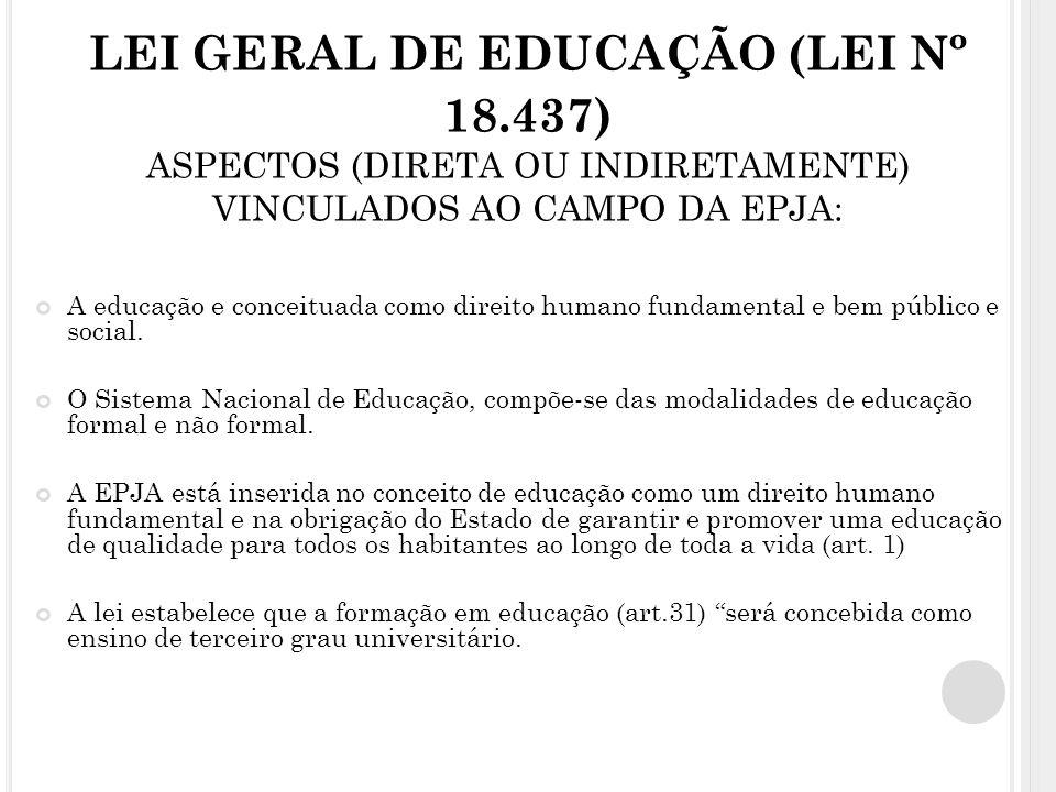 LEI GERAL DE EDUCAÇÃO (LEI Nº 18.437) ASPECTOS (DIRETA OU INDIRETAMENTE) VINCULADOS AO CAMPO DA EPJA: A educação e conceituada como direito humano fundamental e bem público e social.