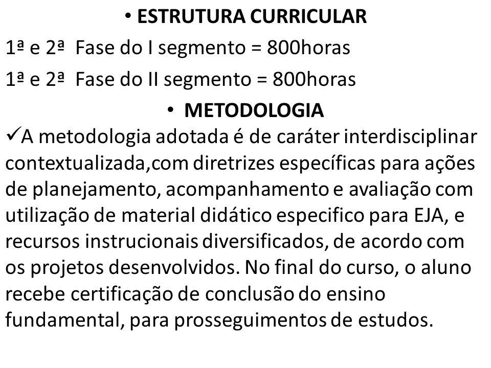 ESTRUTURA CURRICULAR 1ª e 2ª Fase do I segmento = 800horas 1ª e 2ª Fase do II segmento = 800horas METODOLOGIA A metodologia adotada é de caráter inter