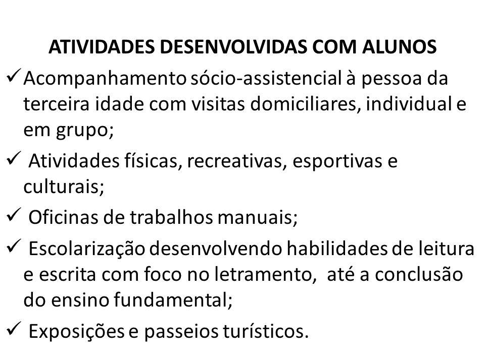 ATIVIDADES DESENVOLVIDAS COM ALUNOS Acompanhamento sócio-assistencial à pessoa da terceira idade com visitas domiciliares, individual e em grupo; Ativ