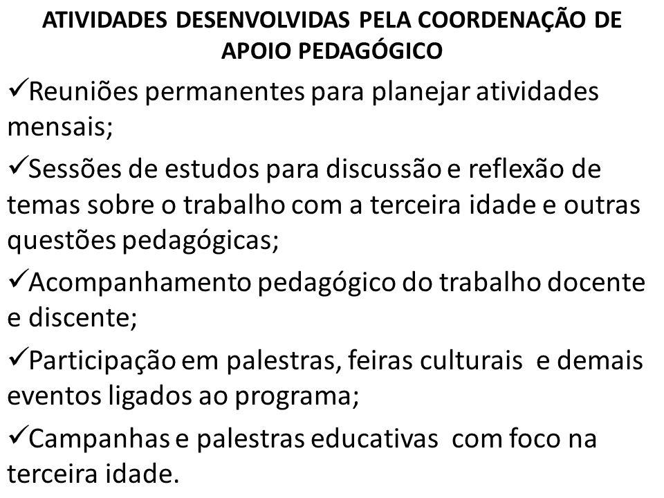 ATIVIDADES DESENVOLVIDAS PELA COORDENAÇÃO DE APOIO PEDAGÓGICO Reuniões permanentes para planejar atividades mensais; Sessões de estudos para discussão