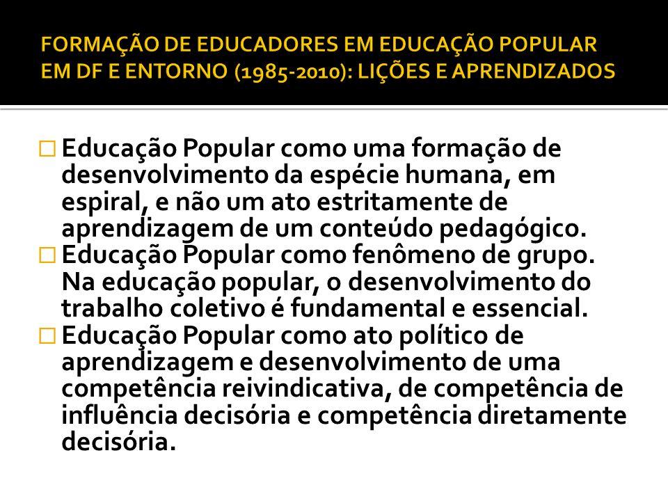 Educação Popular como uma formação de desenvolvimento da espécie humana, em espiral, e não um ato estritamente de aprendizagem de um conteúdo pedagógi