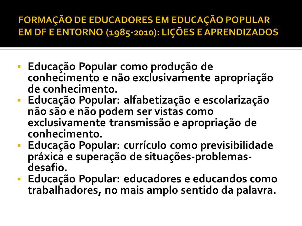 Educação Popular como produção de conhecimento e não exclusivamente apropriação de conhecimento. Educação Popular: alfabetização e escolarização não s